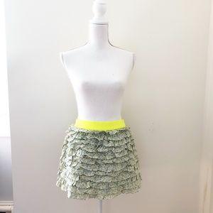 J. Crew Floral Ruffle Mini Skirt